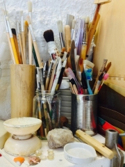 Tools in a workshop for restoring art works (5)