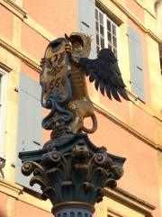 Sculpture above a fountain, rue du Chateau