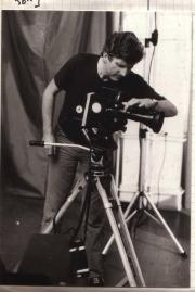 The Swiss filmmaker Francis Reusser filming. (1981)