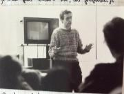 Notebook 9 Pg.24. Jean Paul Fargier talking to students at Fine Arts School in Geneva.