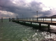 A storm is brewing over the lake, blown in our direction by a strong wind.