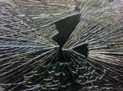Broken window: the unintended art of a lorry driver who backed into a shop window