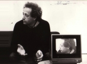 Filming Bernard Noël for a film project with Irene Lichtenstein. (1984)