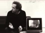 Filming Bernard Noël for a film project with Irene Lichtenstein. (1984)