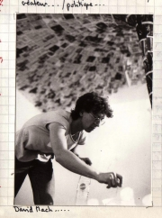David Mack creating a sculpture at the Andanto Rittorno gallery in Geneva. (1983)