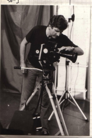 The Swiss filmmaker Francis Reusser filming. (1981)