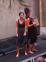 Buskers-3: Two women telling saucy stories. Wonderful!